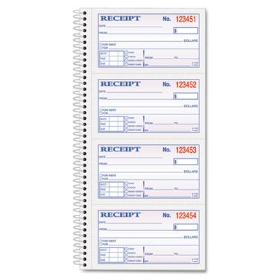 tops moneyrent receipt spiral book - Receipt Book Template