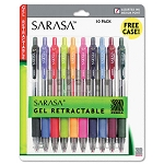 Zebra Sarasa Retractable Assorted Gel Pens 10-Pack