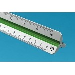 Alvin 743PM White Plastic Metric Triangular Scale