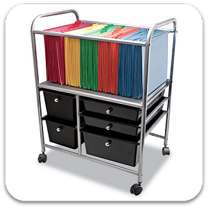 Portable File Cart with 5 Drawers