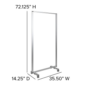 "Flash Furniture 35 1/2"" x 72 1/8"" Clear Acrylic Mobile Partition with Lockable Casters"