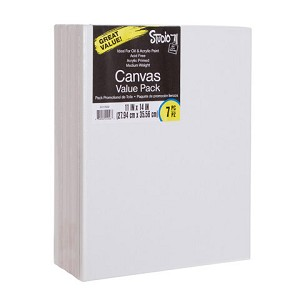 Darice Studio 71 Stretched Canvas Value Pack, 11 x 14 Inches, 7 Pack